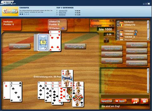 Canasta-Screenshot mit Erklärung der Regeln