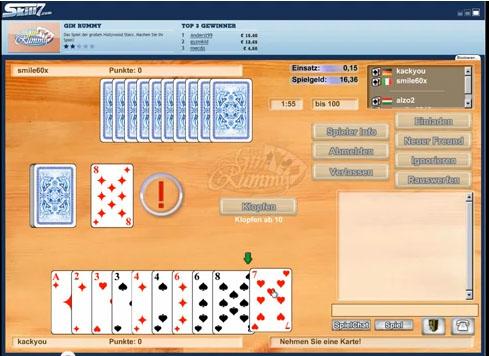 Auf dem Screenshot spiele ich Online Gin Rummy