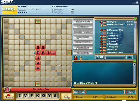 Ausschnitt aus dem Online-Spiel Scrabble