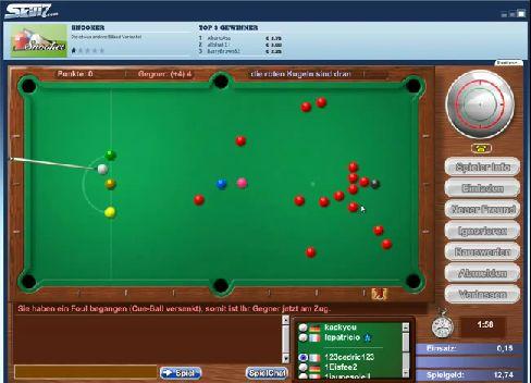 Das ist die Online-Variante von Snooker